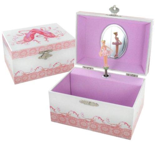 Personalised Girls Musical Ballerina Jewellery Box Pink White