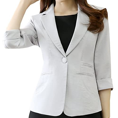 Nice Foucome Women's Formal Career Blazer Work Office 3/4 Sleeve Suits With Single Button hot sale