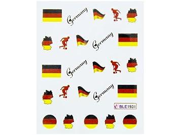 Nailart Sticker Fussball Wm Deutschland Schwarz Rot Gold 1