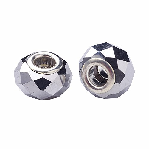 (Pandahall 100pcs Glass European Beads Large Hole Beads Round Faceted Rondelle Imitation Austrian Slide Charms with Metal Core for Bracelet Jewelry Makings 14~15mm Silver)