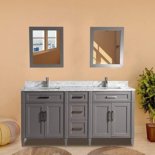 Vanity Art 72 Inch Double Sink Bathroom Vanity Set | Carrara Marble -