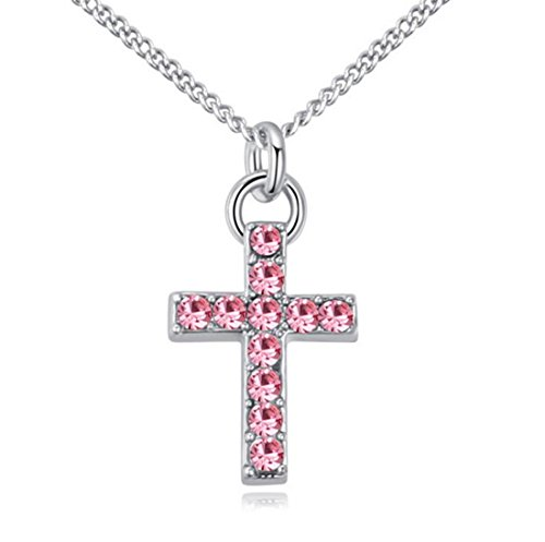 Andyle Cubic Zirconia Silver Tone Crystal Cross Pendant Necklace for Teens, Girls, Women (Pink)