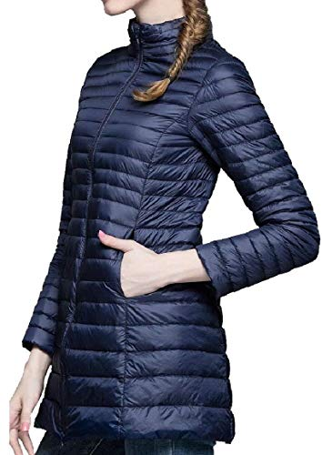 security Womens Lightweight Solid Stand Collar Long Sleeve Long Down Jacket 2