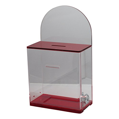 My Charity Boxes - Donation Box - Ballot Box - Ticket Box - Tip Container w/ Back Wall for Display Area (Translucent ()