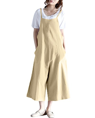 StyleDome Women's Strappy Sleeveless Wide Leg Denim Look Pants Playsuits Pockets Jumpsuit Casual Overalls Rompers Light Yellow US 14 (Suit Womens Denim)