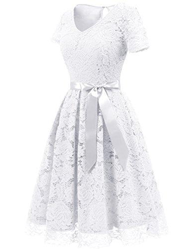 Elegant DRESSTELLS Lace White Bridesmaid Sleeves Women's Short Dress Floral Dresses 55FaB