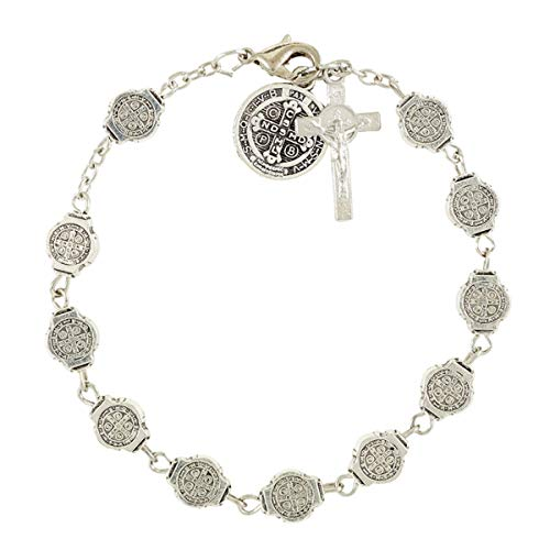 - Saint Benedict Medals Rosary Bracelet, 7 3/4 Inch