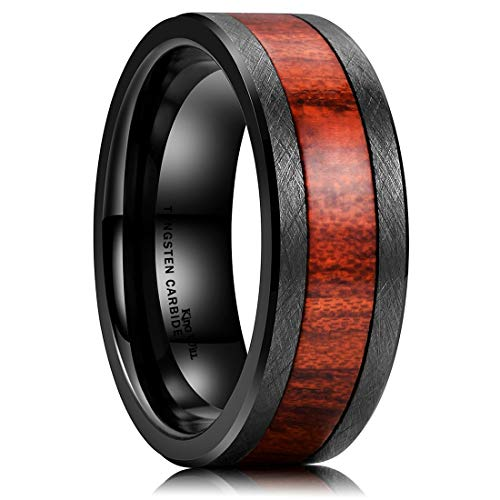 King Will 8mm Black Tungsten Carbide Ring Surface Inlaid with Red Wood Comfort Fit 10 (The Richer The Poorer Questions And Answers)