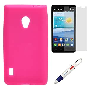 BIRUGEAR Hot Pink Silicone Skin Case + Clear Screen Protector for LG Lucid 2 VS870 with *4-Color Clip Pen*