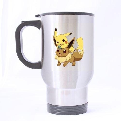Japan Anime Cartoon Pokemon Cute Pikachu and Eevee Custom Travel Mug Sport Bottle Cup 14 OZ Office Home Cup (Printed on two sides)