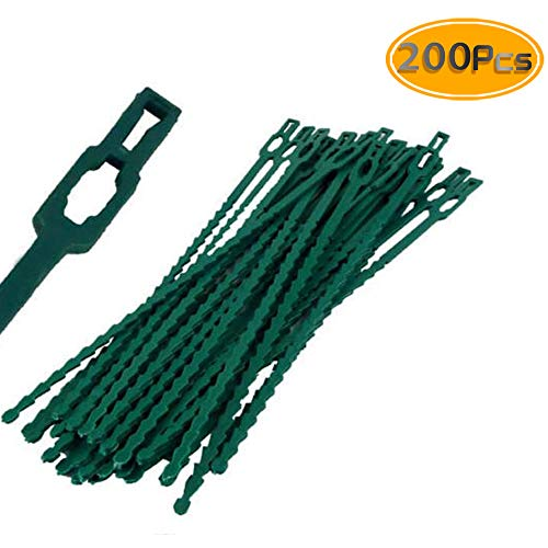 (BcPowr 200PCS Adjustable Garden Plant Twist Ties, Flexible Plastic Leaf Gardening Grips Plant Support Ties for Effective Growing Multi-Use for Secure Vine (6.5 Inch, Green))