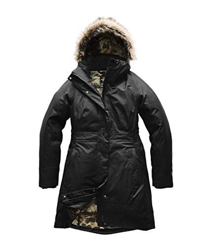 Green Face North (The North Face Women's's Arctic Parka II - TNF Black & New Taupe Green Macrofleck Print - XS)