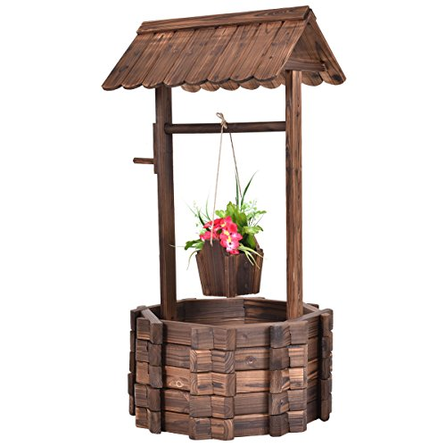 New Outdoor Wooden Wishing Well Bucket Flower Plants Planter Patio Garden Home Decor by totoshop