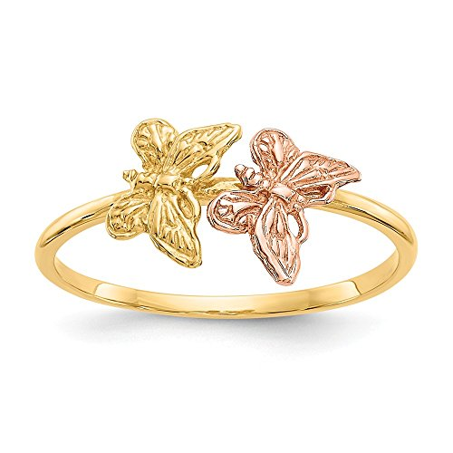 14k Two Tone Yellow Gold Butterfly Band Ring Size 7.00 Fine Jewelry Gifts For Women For Her
