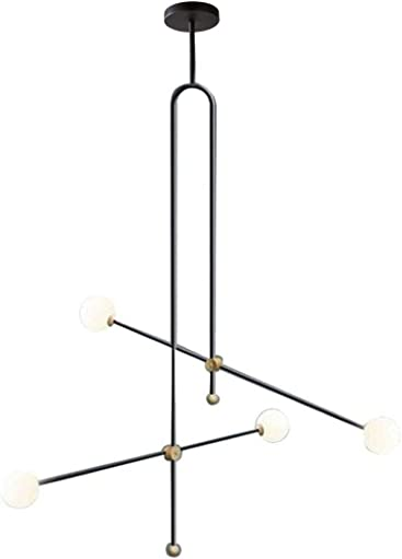Modo Lighting Modern Chandelier Black Ceiling Pendant Lighting Geometric Minimalist 4 Light Fixture G9