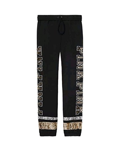 Victoria's Secret Pink New Logo Bling Campus Slouchy Pant Black Large NWT by Vs pink