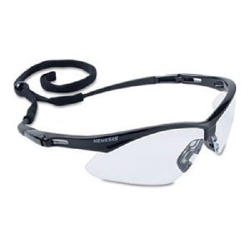 Jackson Safety V30 Nemesis Safety Glasses (25676), Clear with Black Frame, ()