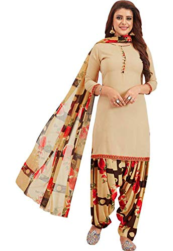 Ishin Women\'s Synthetic Beige Printed Unstitched Salwar Suit Dress Material With Dupatta
