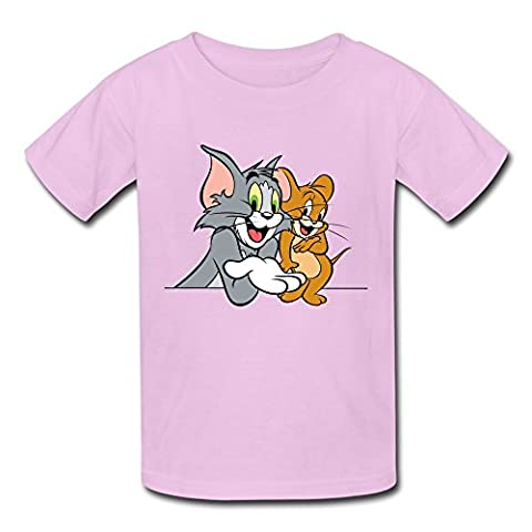 Tom Jerry Show Kids Boys And Girls T-Shirt Pink Size S Cool Short-sleeve (Tom And Jerry Tee Shirts)