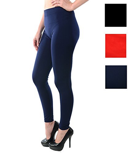 Price comparison product image Women Footless Legging Tight (92% Polyester,  8% Spandex) (3 Pair Black / Red / Navy)