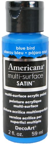DecoArt Americana Multi-Surface Satin Acrylics Paint, 2-Ounce, Blue Bird Blue 2 Oz Americana Paint