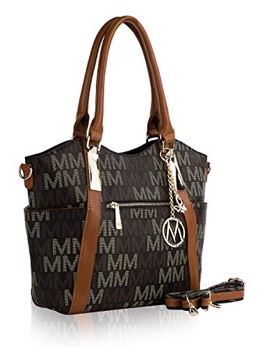 MKF Crossbody Shoulder Handbag for Women Removable Shoulder Strap Vegan Leather Top-Handle Satchel-Tote Bag Brown