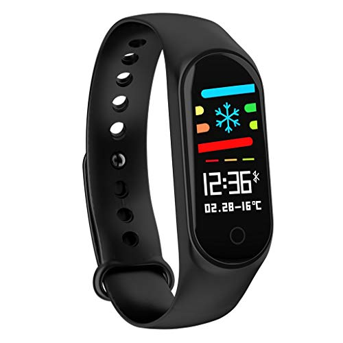 Fine M4 Smart Bracelet, Color Screen Fitness Tracker Blood Pressure Heart Rate Monitor Smart Band Wearable Smart Bracelet Sleep Monitor Step Counter Pedometer Watch for Men Women Kids (Black)