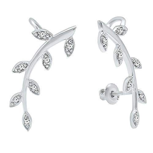 0.11 Carat (ctw) 10K White Gold Round Cut White Diamond Ladies leaf shaped Climber Earrings by DazzlingRock Collection