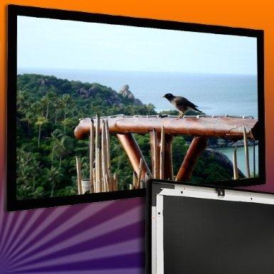 ULTRALUXX ©Rahmenleinwand 300 cm x 169 cm (344cm Diagonale) Beamerleinwand 16:9 (Profi Samt-Defuser-Beschichtung,grau, auf Alurahmen) Full HD, HDTV, HD ready, 3D ready