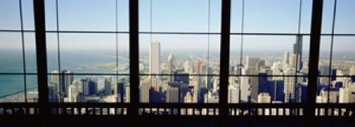 High angle view of a city as seen through a window Chicago Illinois USA Poster Print (18 x 7) (Chicago Window Poster compare prices)