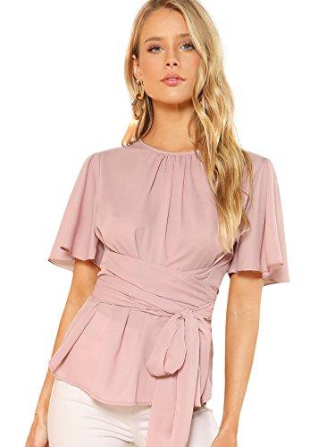 Romwe Women's Self Tie Wist Short Sleeve Casual Chiffon Blouse Tops Pink ()