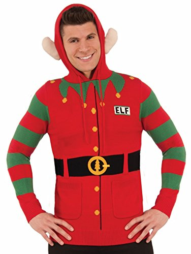 North Pole Unisex Christmas Elf Sweater Hoodie, Red/Green, Large ()