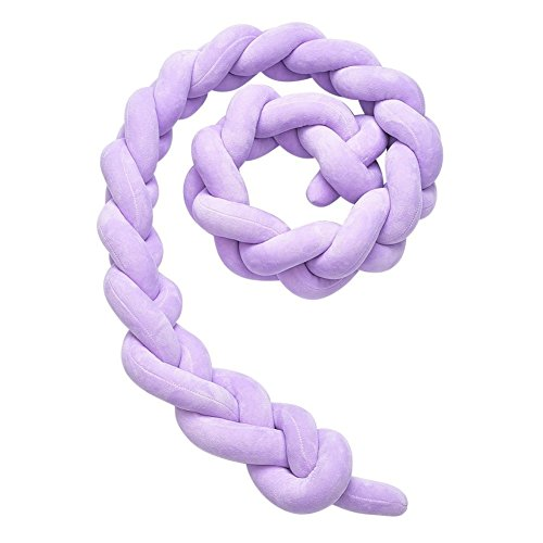 Soft Knot Pillow Decorative Baby Bedding Sheets Braided Crib Bumper Knot Pillow Cushion (Purple, 157.48 inch)