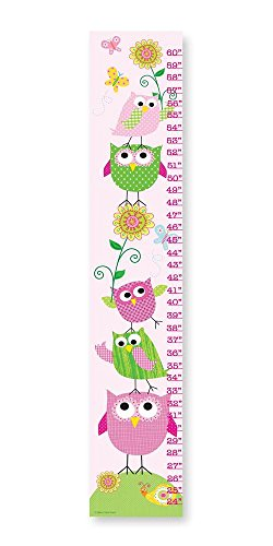 The Kids Room by Stupell Pink and Green Owls with Smiling Snail Growth Chart, 7 x 0.5 x 39, Proudly Made in - Owl Smiling