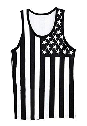 ルームくしゃみ黒板Tootess 女性のアメリカの国旗のノースリーブのコットンキャミブラウス?パターン