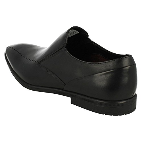Clarks Kids Black Leather 'Brampton' Slip-On Shoes Hew6wgG2