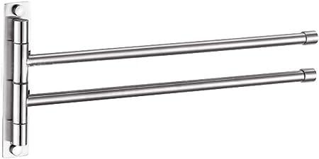 Argent Extra Long 2 Bars M/étal btsky /™ Rotatif Cuisine de Salle de Bain en Acier Inoxydable Serviette de Bain Bar V/êtements Support de Ceinture
