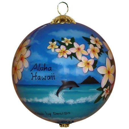 Maui By Design Collectible Hawaiian Christmas Ornament - Morning Glory White Plumeria