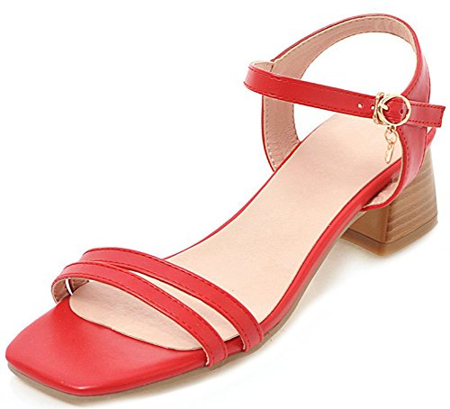 Aisun Women's Comfy Buckles Medium Chunky Heels Sandals Red