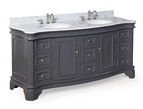 Kitchen Bath Collection KBC-A72GYCARR Katherine Bathroom Vanity with Marble Countertop, Cabinet with Soft Close Function and Undermount Ceramic Sink, Carrara/Charcoal Gray, 72