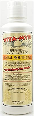 3 Pack VITA-MYR 16 Oz Safe & Effective Herbal Zinc-Plus All Natural Mouthwash - Gluten Free & Vegan, Vitamyr Mouthwash has No SLS, No Sugar, No Fluoride, No Alcohol, No Saccharin, Soothing
