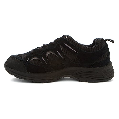 Propét Womens Miranda Suede, Mesh, EVA, Rubber Walking Sneakers Black/Grey