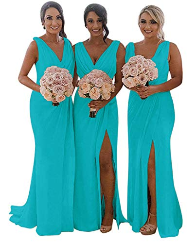 MARSEN Slit Bridesmaid Dresses Long V-Neck Chiffon Pleated Beach Wedding Party Dress 2019 Aqua Size 4