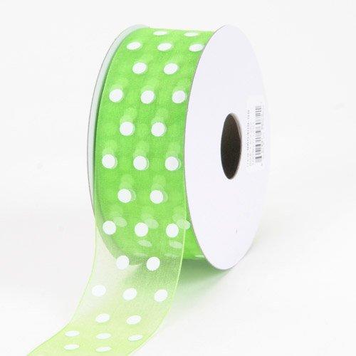 (BBCrafts Apple Green Organza Ribbon Polka Dot 5/8 inch 25 Yards)