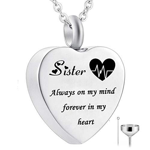HQ Heart Urn Necklace for Ashes Always on My Mind Forever in My Heart Cremation Jewelry Memorial Ashes Keepsake Pendant Birthstone Jewelry (Sister)