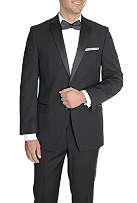 Calvin Klein Slim Fit Solid Black Two Button Tuxedo Tux Suit