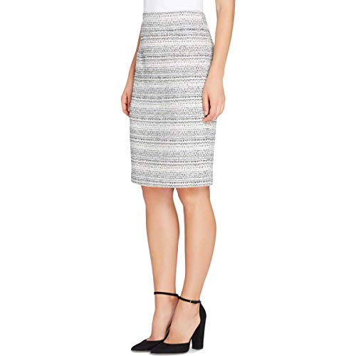 Tahari ASL Womens Plus Boucle Work Wear Pencil Skirt Black-Ivory 18