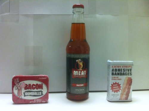 Meat Maniac Bacon Flavored Soda, Bacon Bandaids & Bacon Gumballs- Triple Sampler Gift -