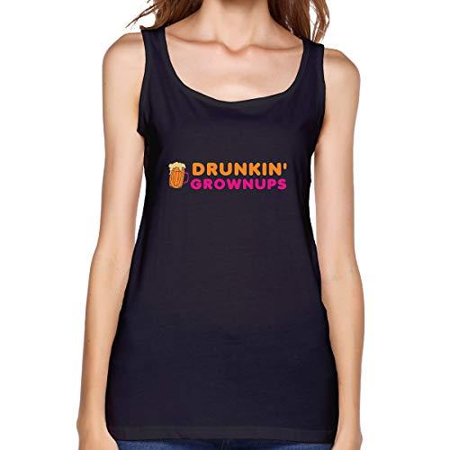 Tank Tops Women Dunkin Donuts Tank Summer Graphic Tee Sleeveless Vest Tops Black ()