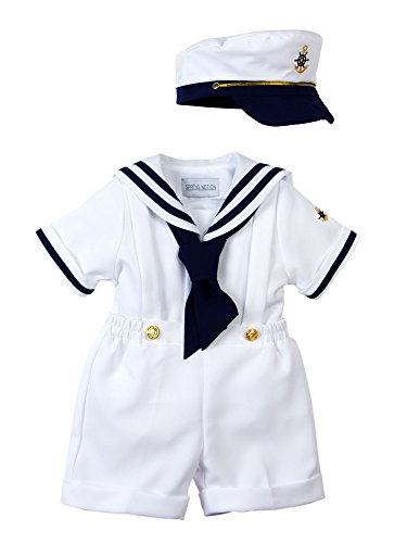 Spring Notion Baby Boys Sailor Set with Hat Style-A Medium/6-12M, White